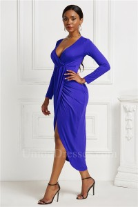 Fashion High Low Stretch Women Dress With Front Slit V Neck Long Sleeve Royal Blue Jersey