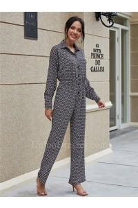 Fashion Jumpsuit Long Sleeve Zigzag Women Bodysuit Wide Leg Pants Romper With Buttons