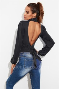 Fashion Open Back Women Romper Sexy Office Lady Bodysuit High Neck Long Sleeve Black Autumn Jumpsuit