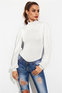 Fashion Open Back Women Romper Sexy Office Lady Bodysuit High Neck Long Sleeve White Autumn Jumpsuit