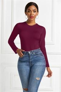 Fashion Slim Women Bodysuit Scoop Long Sleeve Burgundy Casual Body Top Jumpsuit