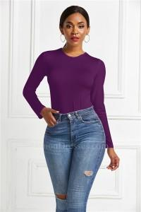 Fashion Slim Women Bodysuit Scoop Long Sleeve Purple Casual Body Top Jumpsuit