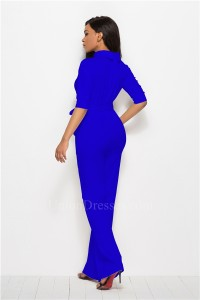 Classic Turn Down Collar Half Sleeve Royal Blue Bodysuit Formal Occasion Jumpsuit With Sash