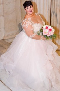 Gorgeous Ball Gown Sweetheart Lace Sleeves Tulle Ruffles Plus Size Wedding Dress