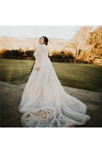 Gorgeous Plus Size A Line Illusion Neckline Long Sleeves Beaded Wedding Dress With Train