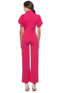 High Neck Ruffle Sleeve Hot Pink Cut Out Stretch Jumpsuit With Sash
