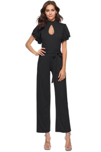 High Neck Ruffle Sleeve Black Cut Out Stretch Jumpsuit With Sash