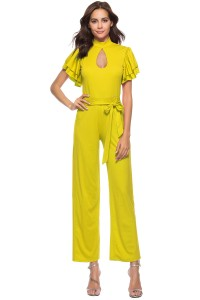 High Neck Ruffle Sleeve Yellow Cut Out Stretch Jumpsuit With Sash