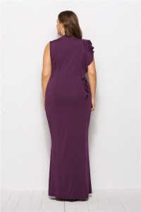 High Neck Grape Jersey Spring Fall Plus Size Woman Clothing Maxi Casual Dress With Ruffles