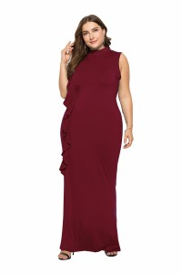 High Neck Burgundy Jersey Spring Fall Plus Size Woman Clothing Maxi Casual Dress With Ruffles