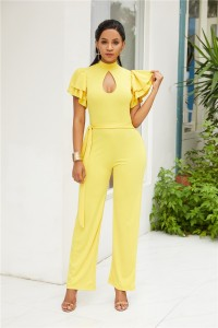 High Neck Open Front Ruffle Sleeve Yellow Jersey Woman Clothing Jumpsuit With Waist-tie