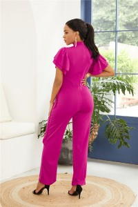 High Neck Open Front Ruffle Sleeve Hot Pink Jersey Woman Clothing Jumpsuit With Waist-tie