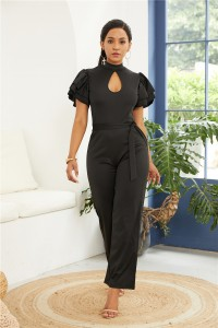 High Neck Open Front Ruffle Sleeve Black Jersey Woman Clothing Jumpsuit With Waist-tie
