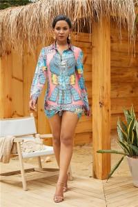 Long Sleeve Tie-Front Printed Summer Beach Shirtdress Short Mini Woman Casual Dress