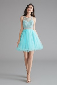 Lovely Short Mini A Line Aqua Tulle Prom Cocktail Dress With Rhinestones