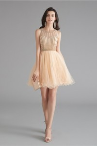 Lovely Short Mini A Line Champagne Tulle Prom Cocktail Dress With Rhinestones