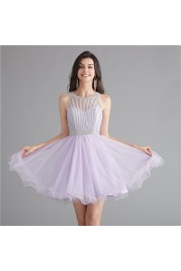 Lovely Short Mini A Line Lilac Tulle Prom Cocktail Dress With Rhinestones