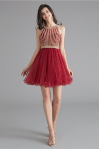 Lovely Short Mini A Line Red Tulle Prom Cocktail Dress With Rhinestones