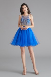 Lovely Short Mini A Line Royal Blue Tulle Prom Cocktail Dress With Rhinestones