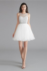 Lovely Short Mini A Line White Tulle Prom Cocktail Dress With Rhinestones