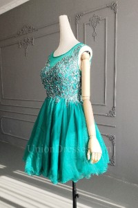 Lovely Short Mini Puffy Green Tulle Lace Beaded Cocktail Party Dress