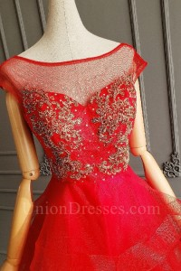 Lovely Short Mini Red Tulle Ruffles Beaded Cocktail Party Dress With Cap Sleeves