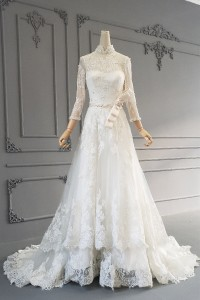 Modest A Line Long Ivory Lace Bow Pearl Beaded Wedding Dress High Neck 3 4 Sleeves