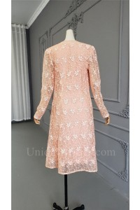 Modest Knee Length Sheath Pink Mother Of Bridesmaid Dress Suit With Lace Jacket