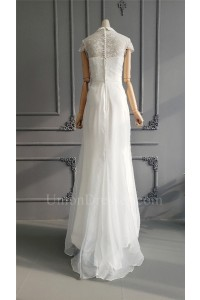 Modest Sheath Collar Long White Organza Lace Beach Destination Wedding Dress With Cap Sleeves
