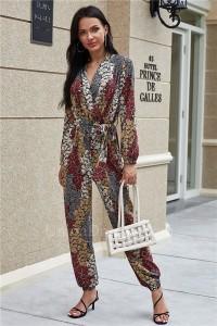 Modest V Neck Long Sleeve Floral Bodysuit Formal Occasion Jumpsuit With Sash