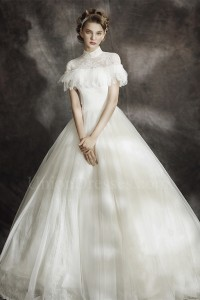Modest Ball Gown High Neck Corset Cap Sleeve Keyhole In Back Lace Tulle Wedding Dress