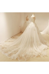 Modest Ball Gown Scoop Corset Cap Sleeve Beaded Lace Tulle Wedding Dress