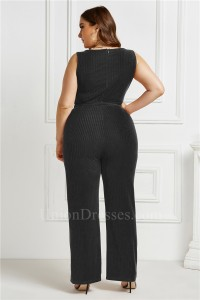 Plus Size O Neck Sleeveless Fashion Jumpsuit Women Black Bodysuit Wide Leg Pants Romper With Sash