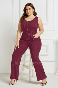 Plus Size O Neck Sleeveless Fashion Jumpsuit Women Burgundy Bodysuit Wide Leg Pants Romper With Sash
