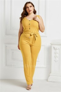 Plus Size O Neck Sleeveless Fashion Jumpsuit Women Yellow Bodysuit Wide Leg Pants Romper With Sash