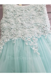 Princess A Line Scoop Aqua Lace Tulle Pearl Beaded Flower Girl Dress With Sash