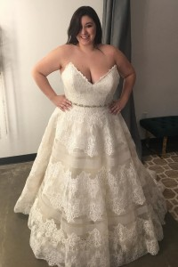 Princess A Line Spaghetti Straps Ivory Lace Beaded Plus Size Wedding Dress With Buttons