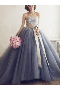 Princess Ball Gown Dusty Blue Tulle Prom Quinceanera Dress With Bow Sash White Lace