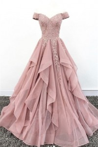 Princess Ball Gown Prom Quinceanera Dress Off The Shoulder Dusty Rose Chiffon Ruffles With Appliques