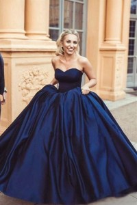 Princess Ball Gown Royal Blue Prom Quinceanera Dress Sweetheart Sleeveless