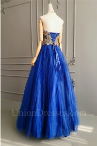 Princess Ball Gown Royal Blue Tulle Beaded Prom Evening Dress Sweetheart Corset