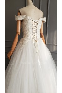 Princess White Tulle Lace Beaded Wedding Dress Off The Shoulder Corset Back No Train
