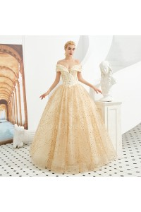Princess Beaded Ball Gown Prom Quinceanera Dress Off The Shoulder Corset Champagne Lace