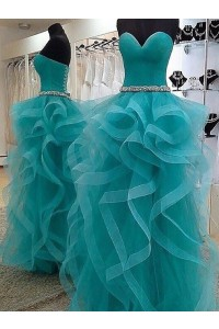 Princess Prom Quinceanera Dress Sweetheart Corset Turquoise Tulle Ruffles With Crystals