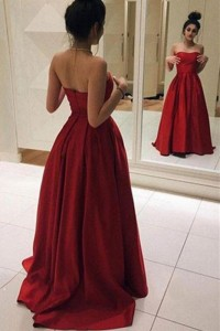 Princess Red Ball Gown Prom Quinceanera Dress Strapless With Sweep Train