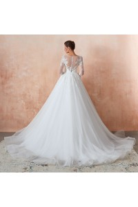 Princess Tulle Lace Wedding Dress With 3 4 Sleeves Buttons Back Court Train
