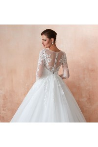 Princess Tulle Lace Wedding Dress With 3 4 Sleeves Buttons Back