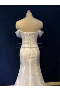 Civil Mermaid Sweetheart Off The Shoulder Corset Back Beaded White Lace Two In One Wedding Dress