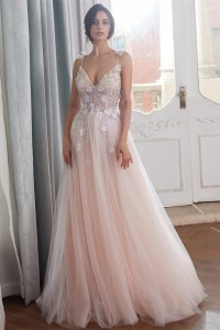 Romantic A Line Spaghetti Straps Blush Pink Tulle Beaded Wedding Dress With Flowers