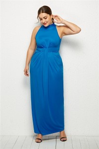 High Neck Sleeveless Sky Blue Jersey Sheath Spring Fall Plus Size Woman Clothing Maxi Casual Dress